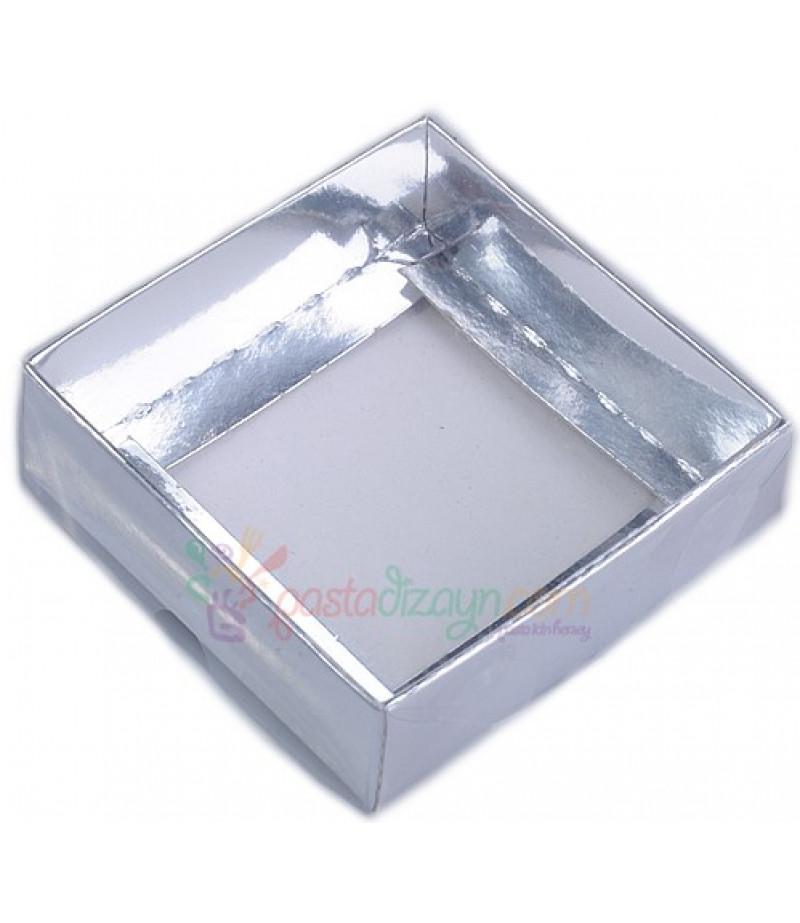 Gümüş Renk Asetat Kutular,9x9x3cm,5 Adet