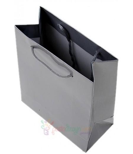 Gümüş Renk Karton Çanta,14x17cm