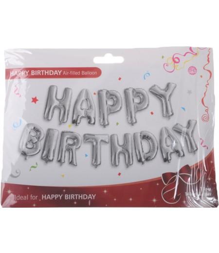 Gümüş Renk Happy Birthday Yazılı Folyo Balonlar