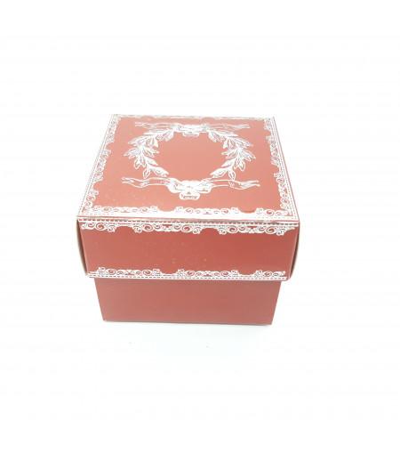Gümüş Yaldızlı Süsleme Kutusu Koyu Kırmızı