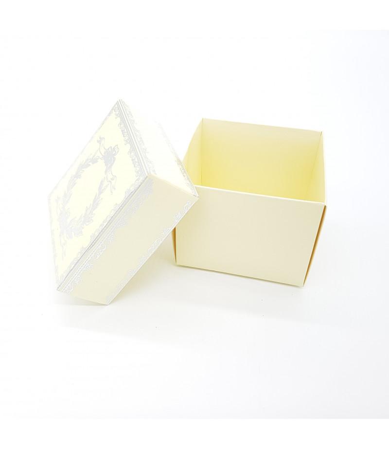 Gümüş Yaldızlı Süsleme Kutusu Krem