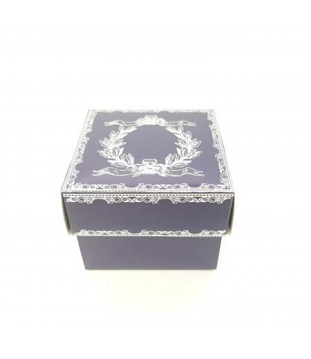 Gümüş Yaldızlı Süsleme Kutusu Lacivert