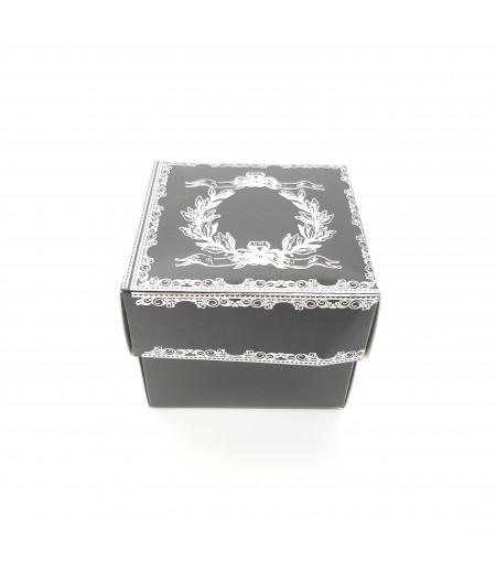 Gümüş Yaldızlı Süsleme Kutusu Siyah