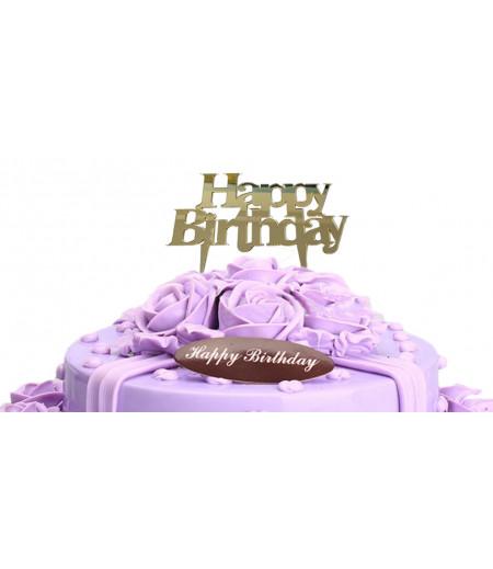 Happy Birthday Yazılı Pleksi Süsleme,Altın