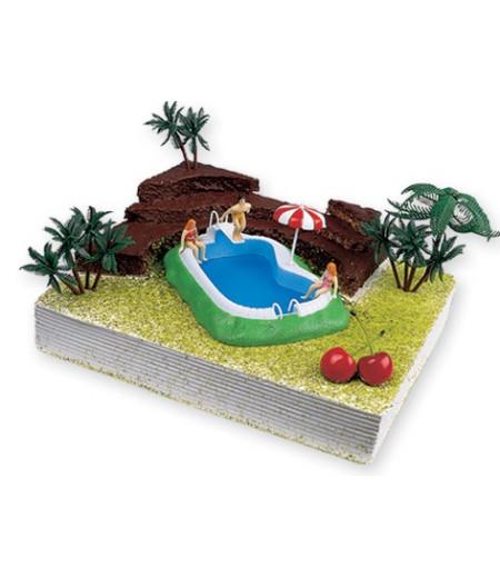 Havuz Figürlü Pasta Süsü (Havuz,Traplen,Merdiven,Yüzücüler)