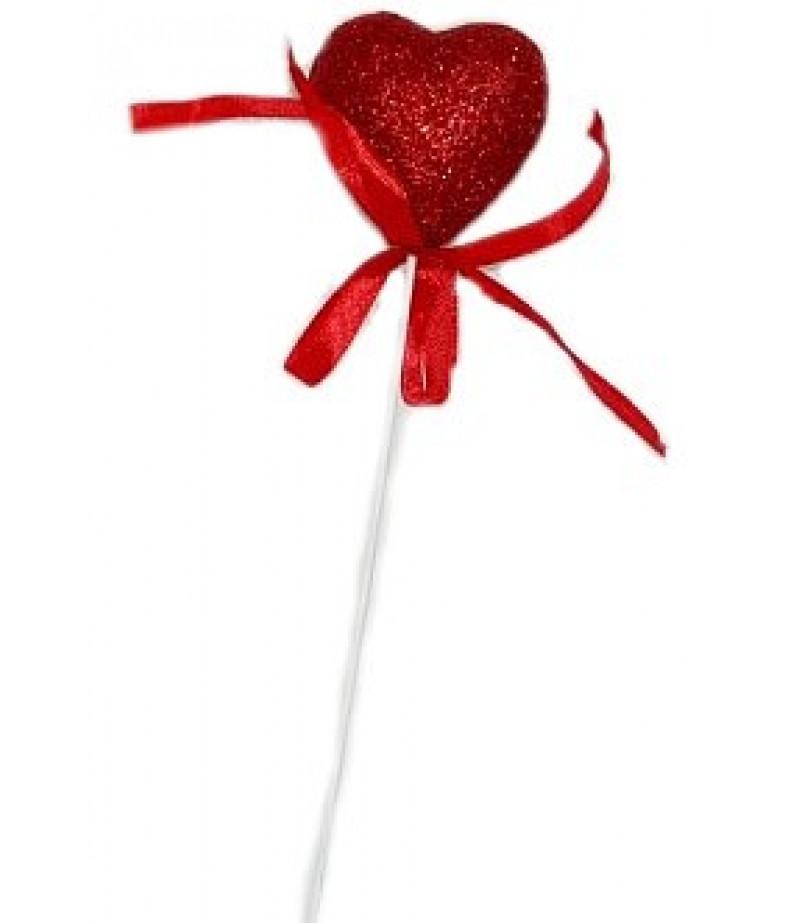 Kırmızı Kalpli Sunum Çubukları,12 adet