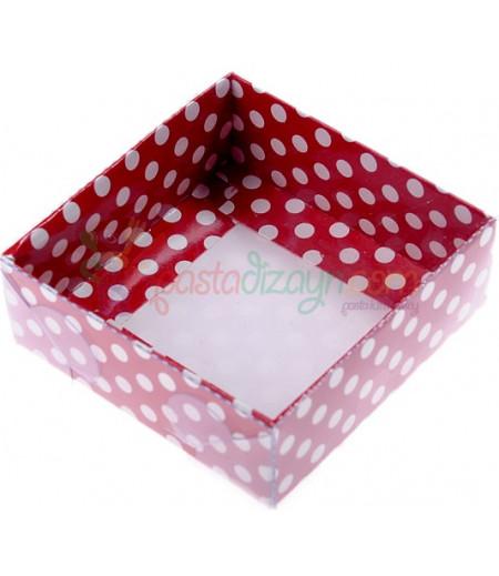 Kırmızı Puantiyeli Asetat Kutular,8x8x3cm,5 Adet