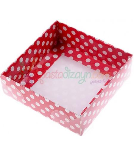 Kırmızı Puantiyeli Asetat Kutular,9x9x3cm,5 Adet