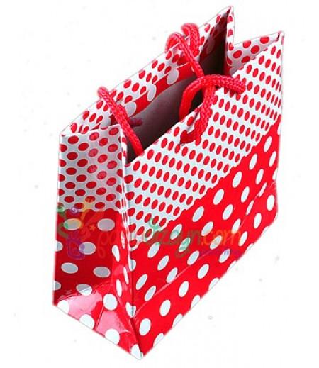 Kırmızı Puantiyeli Karton Çanta,8 Adet
