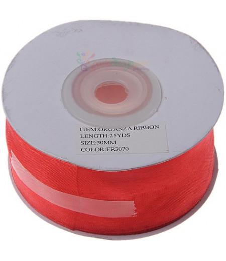 Kırmızı Renk 3cm Organze Kurdela,25m