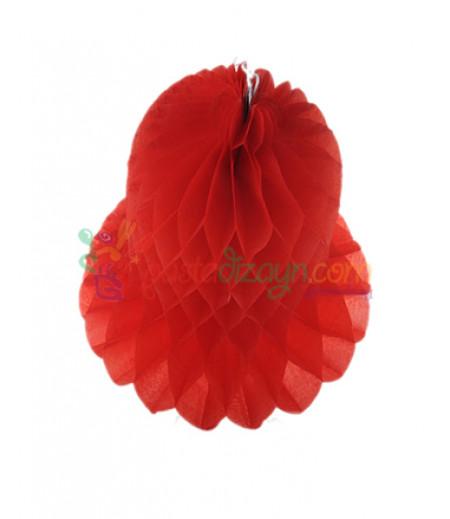 Kırmızı Renk Çan Şeklinde Petek Fener,20cm
