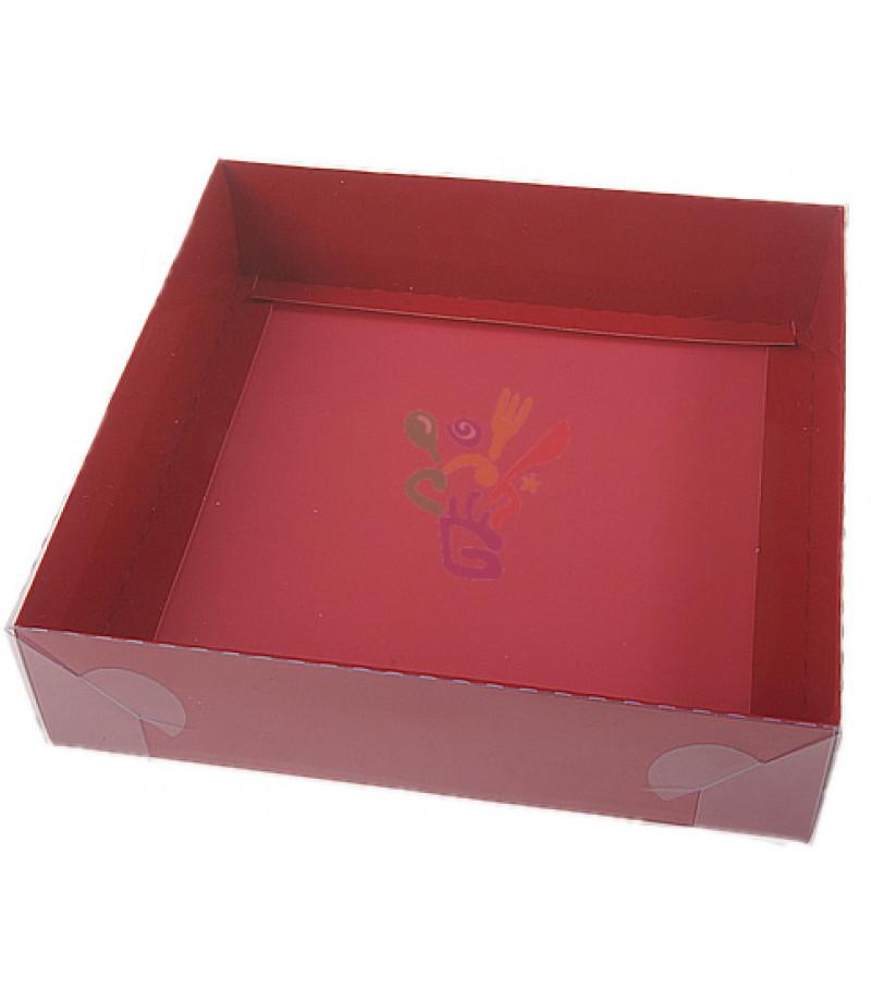 Kırmızı Renk Asetat Kutular,20x20x5cm,Adet