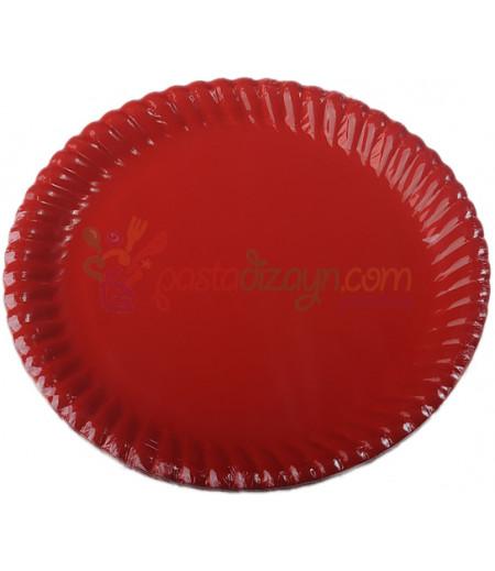 Kırmızı Renk Kağıt Tabaklar,8 adet