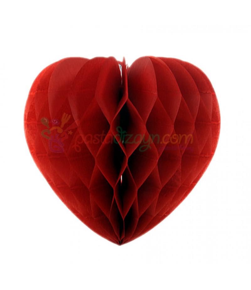 Kırmızı Renk Kalpli Petek Parti Süslemesi,15cm