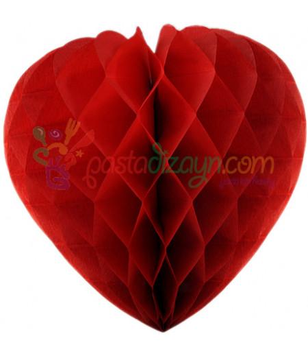 Kırmızı Renk Kalpli Petek Parti Süslemesi,30cm
