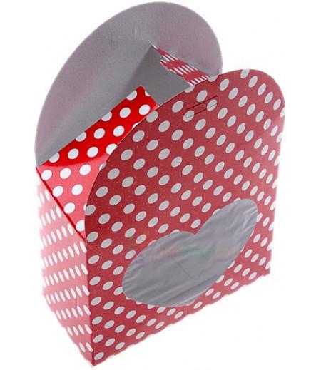 Kırmızı Renk Kalpli,Saplı Çantalar,9x11,5 Adet