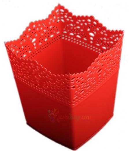 Kırmızı Renk Kare Plastik Sunum Kovası