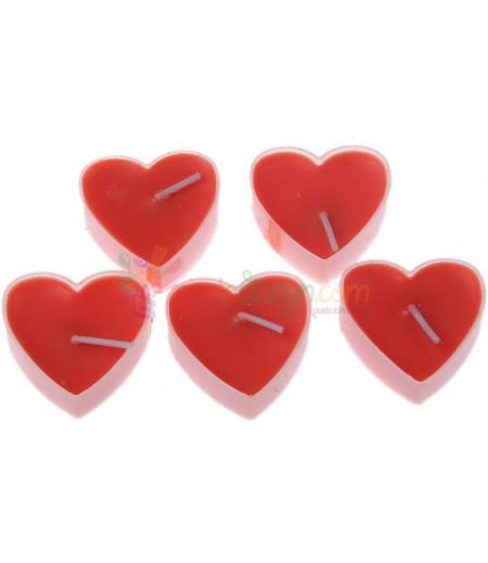 Kırmızı Renk Mini Kalpli Mum Seti,5 Adet