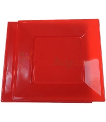 Kırmızı Renk Plastik Kare Tabaklar,8 adet