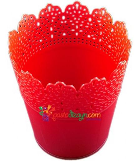 Kırmızı Renk Plastik Sunum Kovası