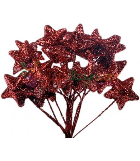 Kırmızı Renk Simli,Yıldızlı Süsleme Cicekleri