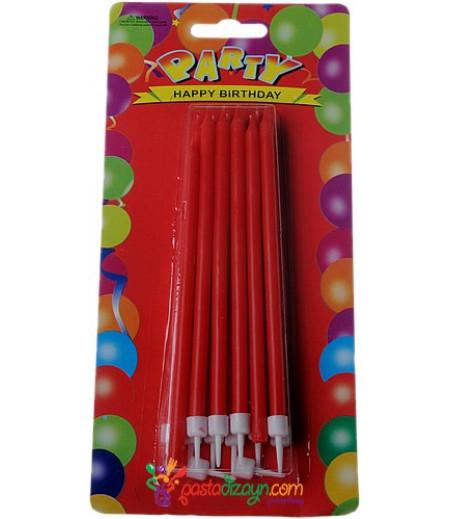 Kırmızı Renkli Uzun Mum Seti