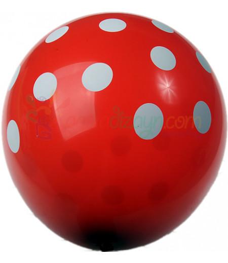 Kırmızı Renk,Puantiyeli Balon Seti,12 Adet