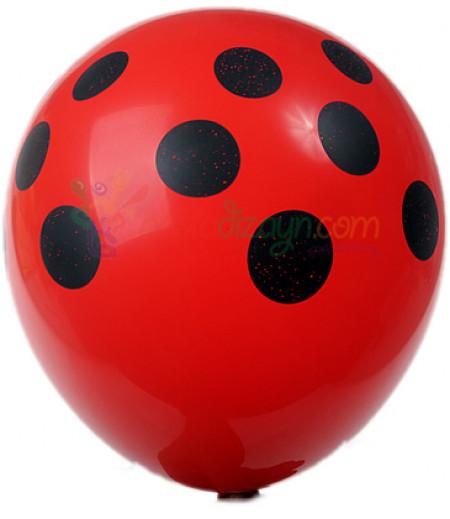 Kırmızı,Siyah Puantiyeli Balon Seti,12 Adet
