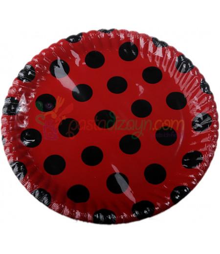 Kırmızı,Siyah Puantiyeli Kağıt Tabaklar,8 adet