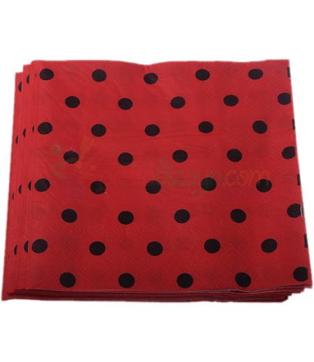 Kırmızı,Siyah Puantiyeli Peçeteler,20 Adet