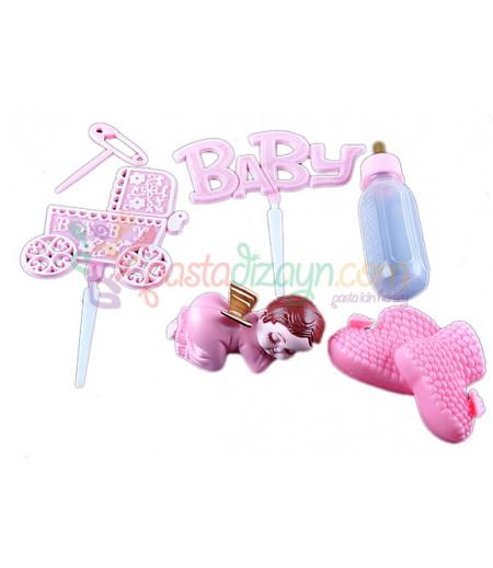 Kız Bebek Plastik Pasta Üstü Süslemesi