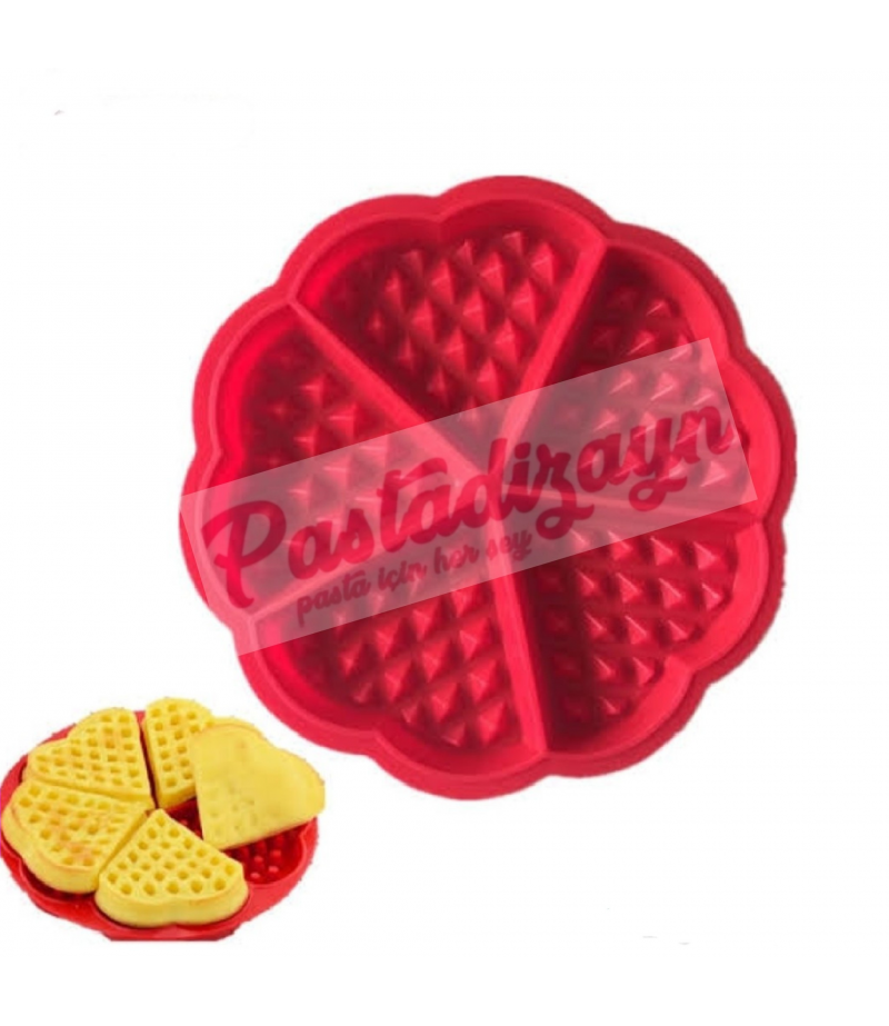 Kalp Desen Silikon Waffle Kalıbı