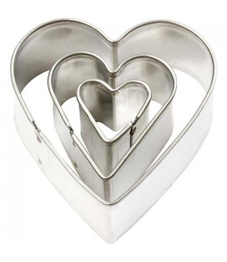 Kalp Desenli Metal Kalıplar, 3'lü