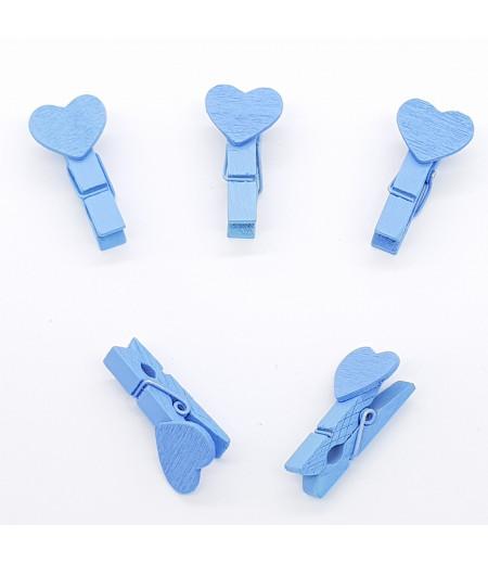 Kalp Desenli Poşet Mandalı Kalp Mavi