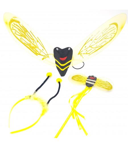 Kanatlı Arı 3 Lü Set Süsleme Sarı