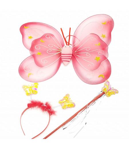 Kanatlı Kelebek 3lü Set Asma Süsleme Kırmızı