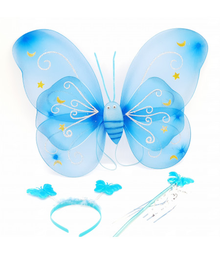 Kanatlı Kelebek 3lü Set Asma Süsleme Mavi