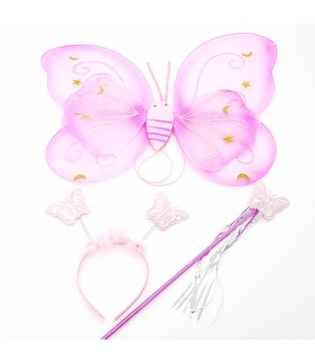 Kanatlı Kelebek 3lü Set Asma Süsleme Pembe