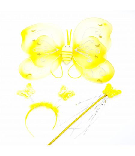 Kanatlı Kelebek 3lü Set Asma Süsleme Sarı