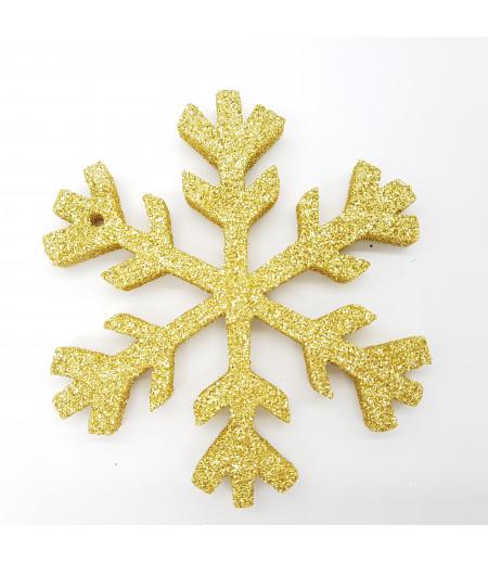 Kar Tanesi Simli Strafor Küçük Asma Süsleme Altın