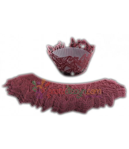 Kelebekler,Kırmızı Renk Muffin Kenar Dantel,10 Adet
