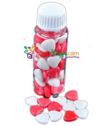 Kalp Şekilli Kırmızı,Beyaz Drajeler,30gr