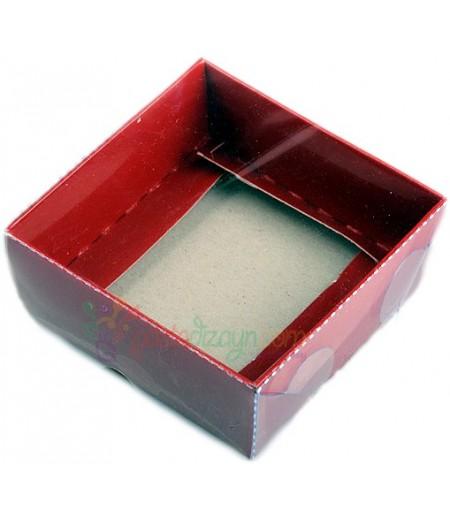Kırmızı Asetat Kutular,8x8x3cm,5 Adet
