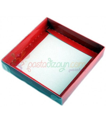 Kırmızı Asetat Kutular,9x9x3cm,5 Adet