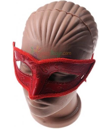 Parti İçin Kırmızı Renk Desenli Maske