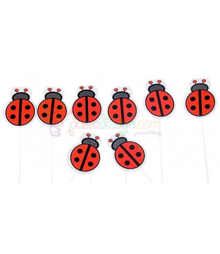 Kırmızı Renk Uğur Böcekleri Kürdanlar,10 Adet