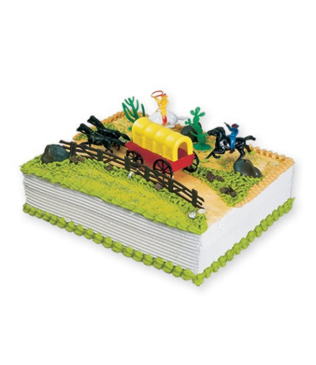 Kovboy Figürlü Pasta Süsü (2 Atlı Kovboy,2 Çit,Atlı Araba,Ağaçlar)