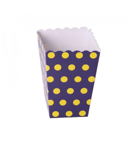 Lacivert Sarı Puantiyeli Popcorn Kovası,10 lu