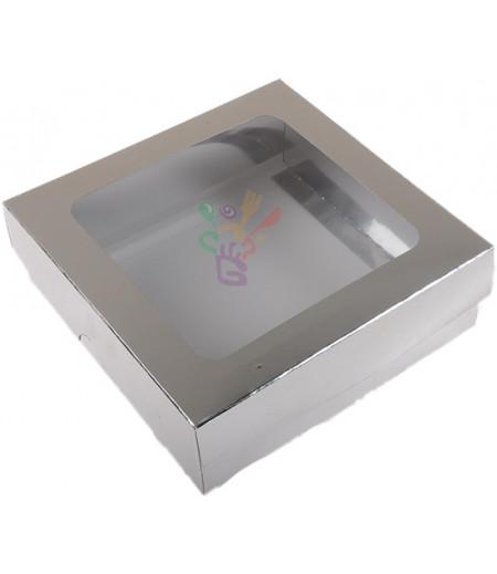 Lüks Gümüş Renk Kutu,15x15x5cm,Adet