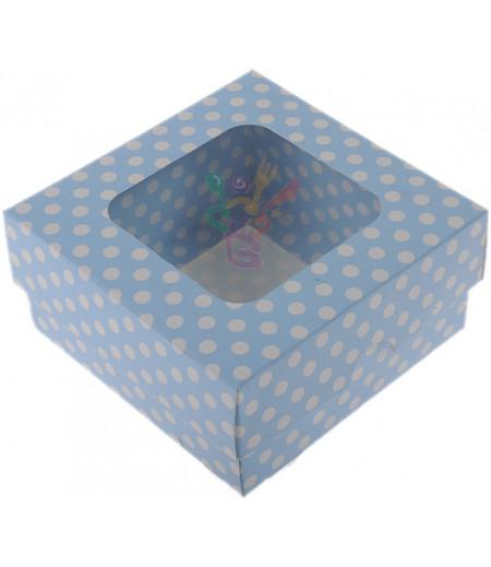Lüks Mavi Puantiyeli Kutu,10x10x5cm,Adet